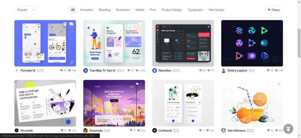 Dribbble -Digital Designers and Creatives